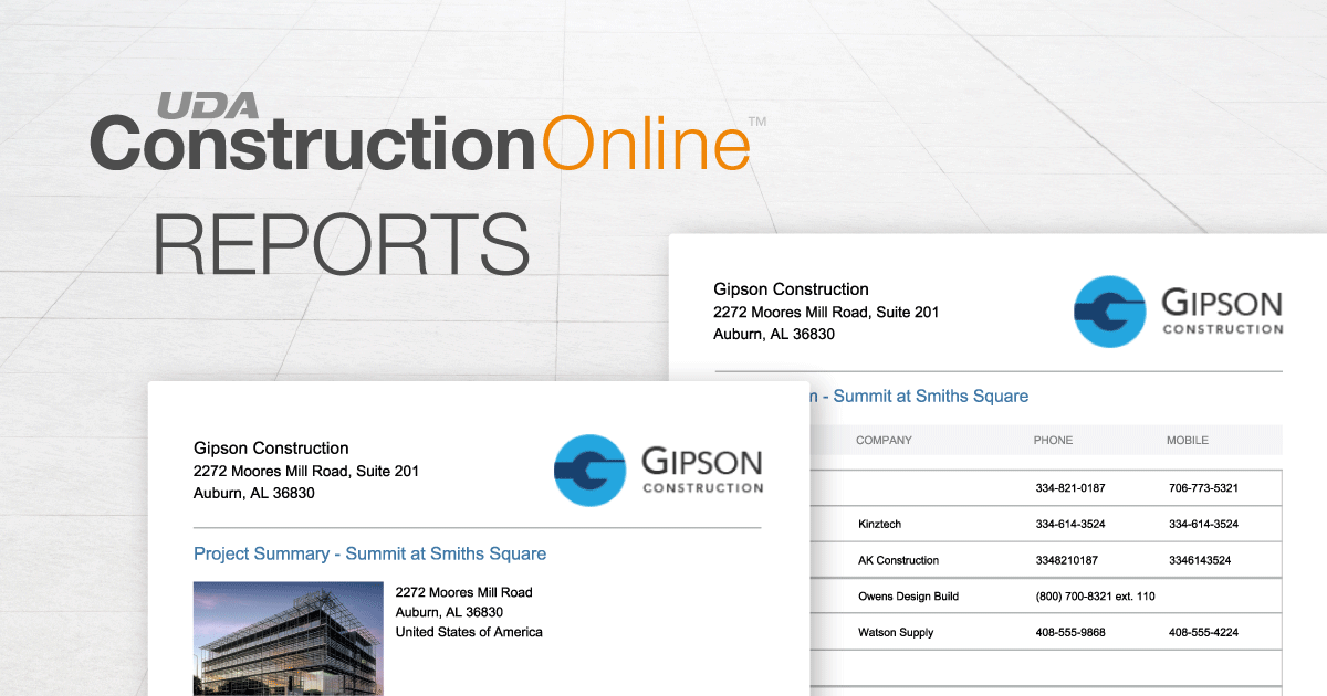 Now Available in ConstructionOnline™ 2019: New Project Summary Report