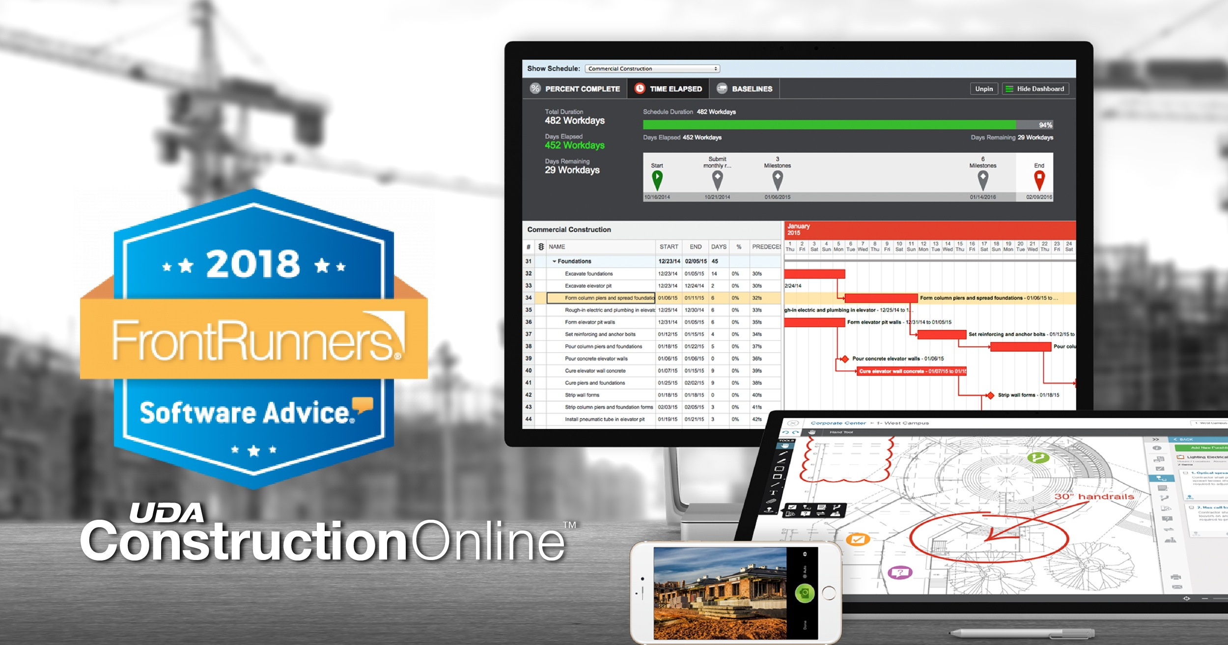 ConstructionOnline Named FrontRunner for Construction Management Software