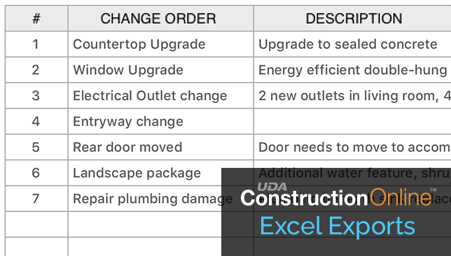 Easy Export to Excel Available for ConstructionOnline Change Orders