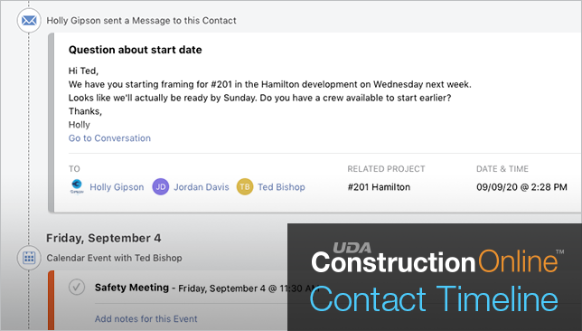 Get Organized with the New Contact Timeline View in ConstructionOnline