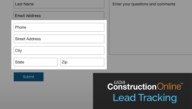 ConstructionOnline™ Lead Capture Form Expanded to Collect Additional Lead Details