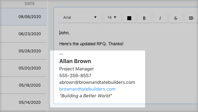 ConstructionOnline Upgrades Messaging Feature with New Custom Signatures