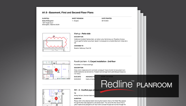 Print & Share Markup with Convenient Redline Sheets and Pins Report