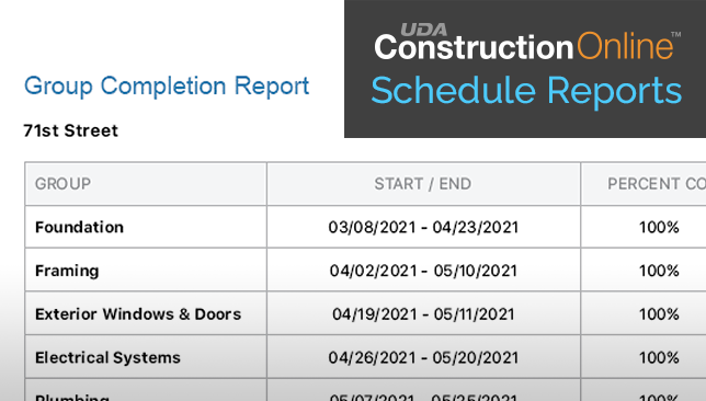 ConstructionOnline Introduces Schedule Group Completion Report